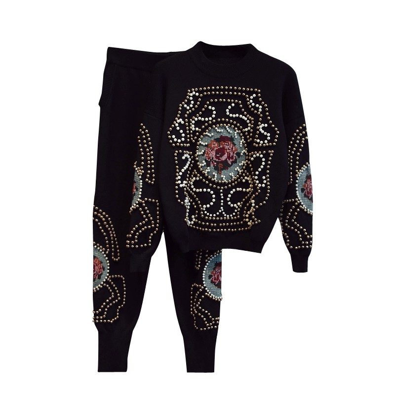 Women Thicken Handmade Cross Stitch Embroidery Beading Knitted Sweaters Trousers 2 Pieces tracksuit Sets Knitting Suits
