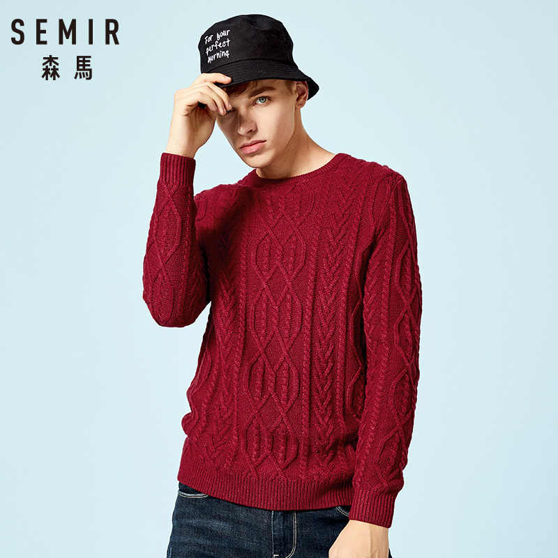 SEMIR Brand Sweater Men 2019 Autumn Winter Cotton Thicken Pullover O-neck Letter Sweater Plus Size Outerwear