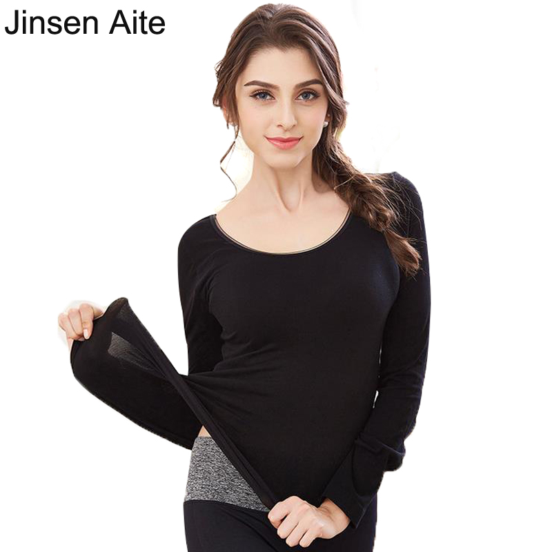 Jinsen Aite New Winter And Autumn Cotton Women Long Johns Slim O-Neck Body Shaped Elasticity Ladies Thermal Underwear Tops JS78
