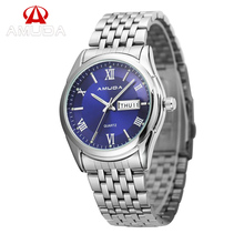 AMUDA Relogio masculino Relojes de Lujo de Los Hombres Completa Steel Business Casual Relojes de Pulsera de Hombre Día Fecha Reloj de Cuarzo Luminoso