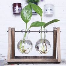 O.RoseLif New Eco-friendly Tabletop Plant Flower Glass Vase With Iron Holder Wedding Decorative Home Decoration Accessories