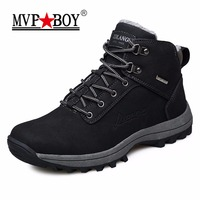 MVP BOY Brand Men Winter Boots 2017 Keep Warm Plush Leather Ankle Boots Male Boots Comfort