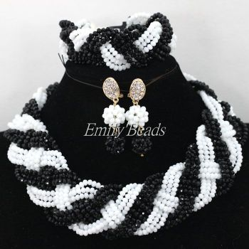 2016 Fashionable African Beads Jewelry Set Black/White Nigerian Wedding Crystal Beads Necklace Jewelry Sets Free Shipping AIJ740