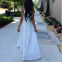 Summer White Black Blue Long Maxi Dresses for Women Shirred Sleeveless Halter Chiffon Dresses Pleated Dresses Casual Beachwear