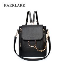 Kaerlark Brand New Fashion Women Backpacks Female High Quality PU Leather School Softback Chain Bagpack Feminina Mochila WS0001
