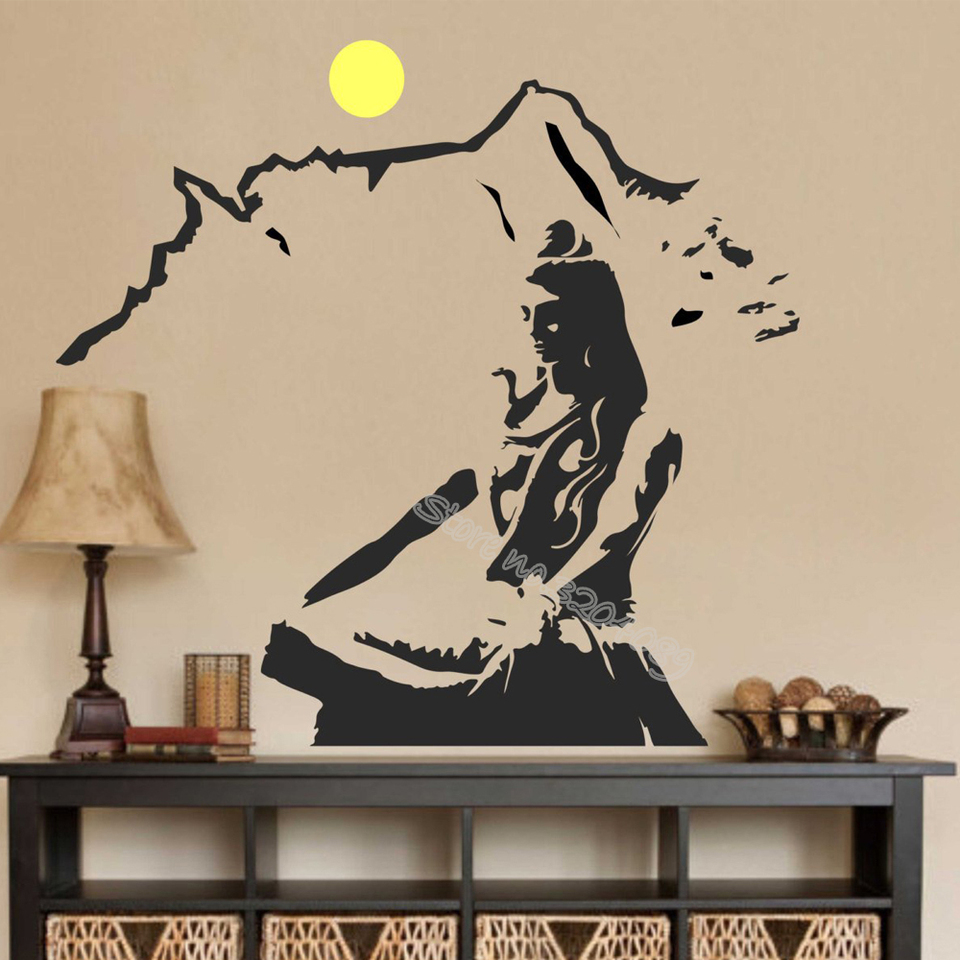 Lord Shiva Wall Decal God Hindu Prayer Religious Wall Sticker Yoga Lotus Mountain Meditation Home Decoration Art Mural Eb075 Wall Stickers Aliexpress