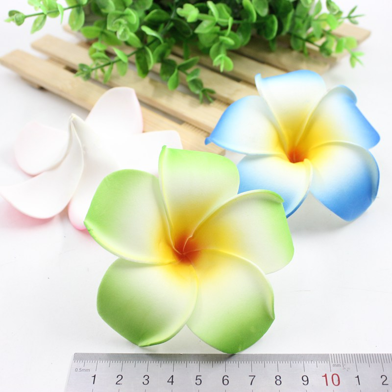 10Pcs 9cm Plumeria Hawaiian Foam Frangipani Artificial Flower For Wedding Party Decoration in Artificial Dried Flowers from Home Garden