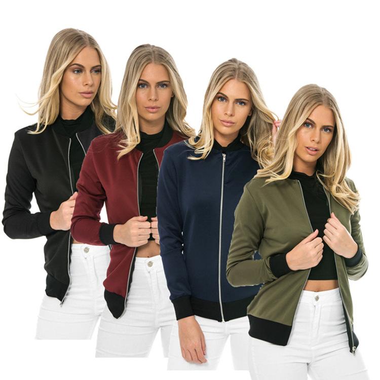 Hot Sprzedaż Jesień Tanie Ubrania Kobiet Małe Krótkie Kurtki Z Długim Rękawem Zipper Fly Outwear Kurtki Płaszcze Slim Cienkie Stylu topy Coat 2