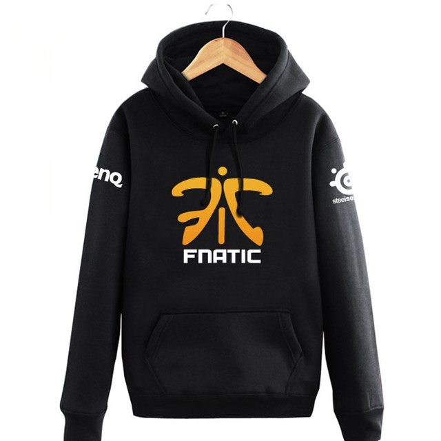 LOL DOTA 2 Team FNATIC Anime Cosplay Costume Black Fleece Pullover Hoodie  Sweatshirt dce5d262acf2