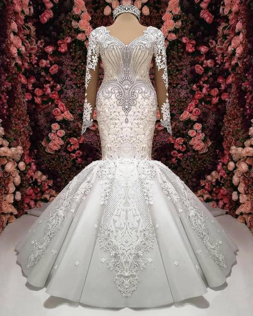 Luxury Mermaid Long Sleeve Wedding Dresses 2021 robe de mariee Beaded Lace Wedding Gowns Handmade Sweep Train Bride Dress 2
