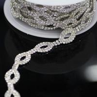 1 yard AAA Dereceli Kristal Temizle Oval Cam Rhinestone Kupası Zincir Gümüş Bankası Elbise Dekorasyon Trim Aplike dikmek Rhinestones