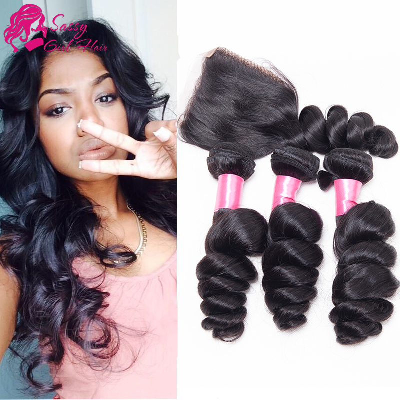 Sassy Girl Hair Malaysian Loose Wave With Closure Cheap Human Hair With Closure Piece Hair Bundles With Lace Closures Maylasian