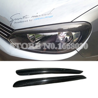 Carbon Fiber Headlight Eye Lid Eyebrow Cover For Volkswagen Golf 6 MK6 2008 2012 2pcs