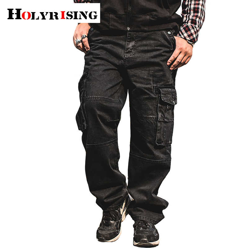Holyrising Mannen Multi-Pocket Jeans Male Losse Overalls Denim Cargo Broek Biker Jeans Mannen Baggy Losse Jeans 18753 -5