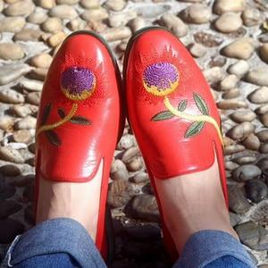 Image 2 - Yinzo femmes chaussures plates Oxford chaussures femme en cuir véritable slip on dames richelieu Vintage chaussures décontractées chaussures pour femmes 2020
