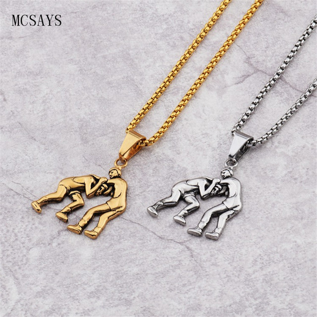 Mcsays stainless steel punk necklace wrestling fighting men pendant mcsays stainless steel punk necklace wrestling fighting men pendant box chain slivergold color necklace aloadofball Image collections