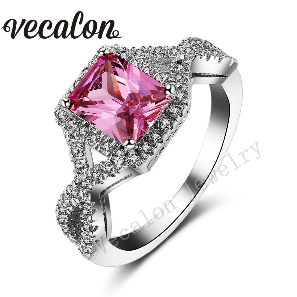 Vecalon 2016 Princess Cut 4ct Pink Sapphire Simulated Diamond Cz 925  Sterling Silver Engagement Wedding Band