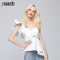 #2712 2018 Summer White/Black blouse women One shoulder Sexy Bandage bow Irregular Sexy Butterfly sleeve blusas femme Backless