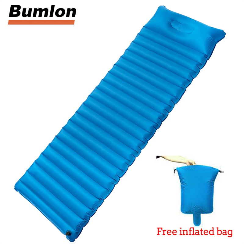 Inflatable Camping Mat Portable Camp Tent Sleeping Pad Outdoor Airbed Mattress Cushion Breathable Damp-proof Single RL21-0044 hewolf 1 people portable thicken outdoor camping tent mat automatic inflatable sleeping pad damp proof splicing beach picnic mat