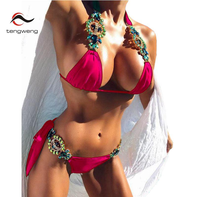 Tengweng 2018 New Crystal Swimsuit Bikini Rhinestone Swimwear Women Sexy Swimsuit Big size 2 piece Female Brazilian Bathing suit 2