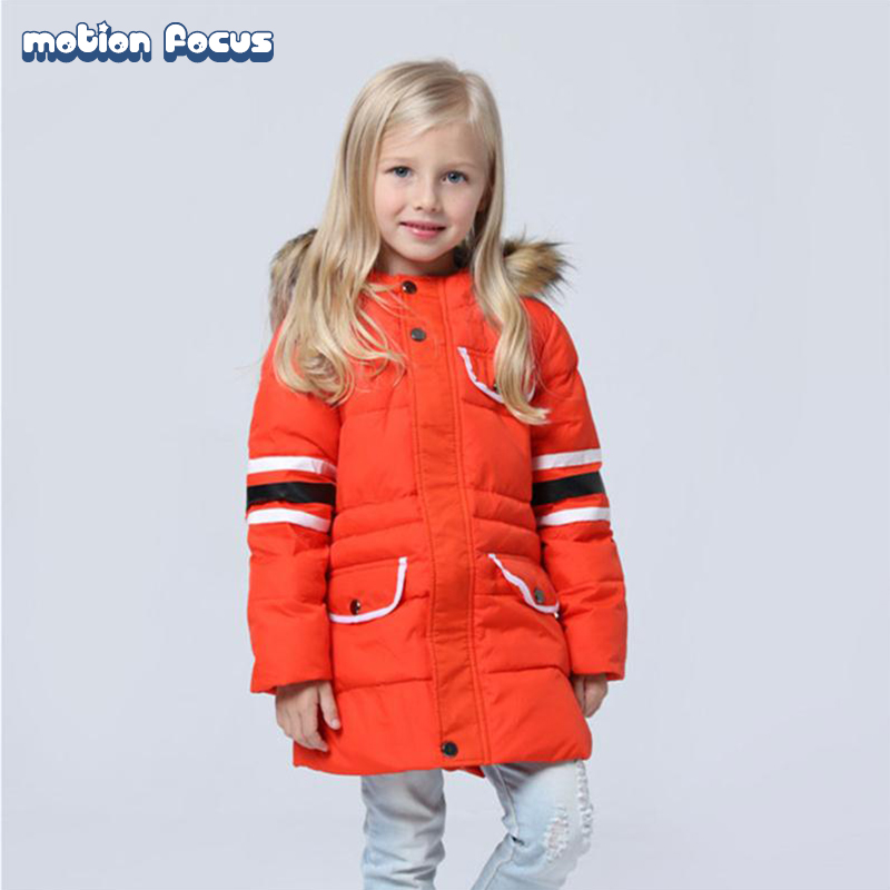 ФОТО Fashion 2016 Winter Children Long Jacket Boys Girls Down Coat Outwear with Fur Collar Hooded Thick Warm Parka Kids Clothes