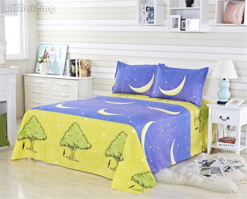 Peaceful Moon Night Pattern Bedding Set Children Cotton Bed Linen Gift for Boy/girls Include Duvet Cover+flat Sheet+pillowcase