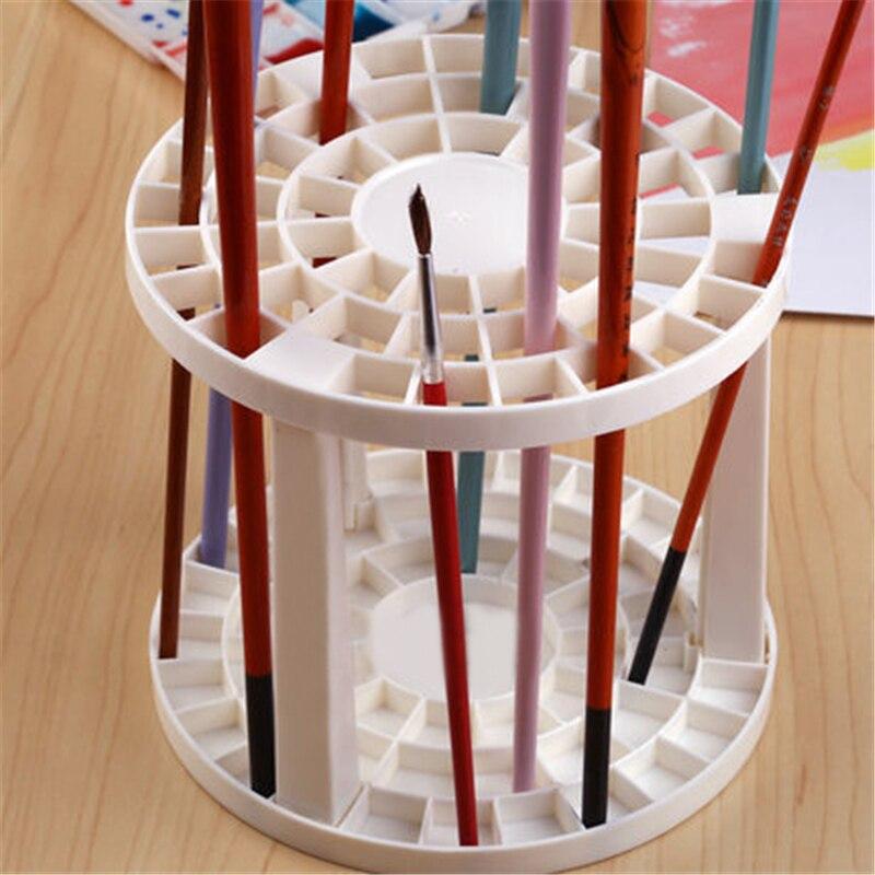 Art Supplies Using Paint Brush Penholder White Round Plastic Drawing Fashion Product Set 1 Piece  цены