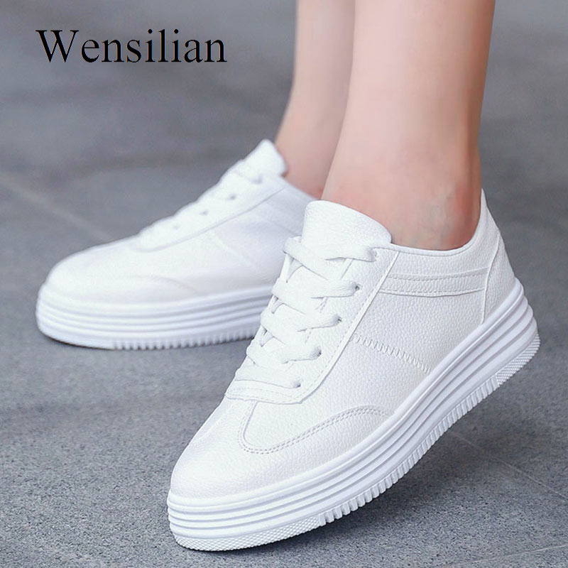 Women's Vulcanize Shoes Sneakers Women White Platform Sneakers PU Leather Shoes Ladies Casual Thick Sole Flats Zapatillas Mujer
