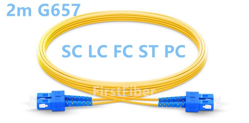 2m SC LC FC ST PC UPC Patch Cable 2 Cores Duplex Fiber Patch Cable, G657A Jumper, Patch Cord 2.0mm PVC OS2 SM Bend Insensitive