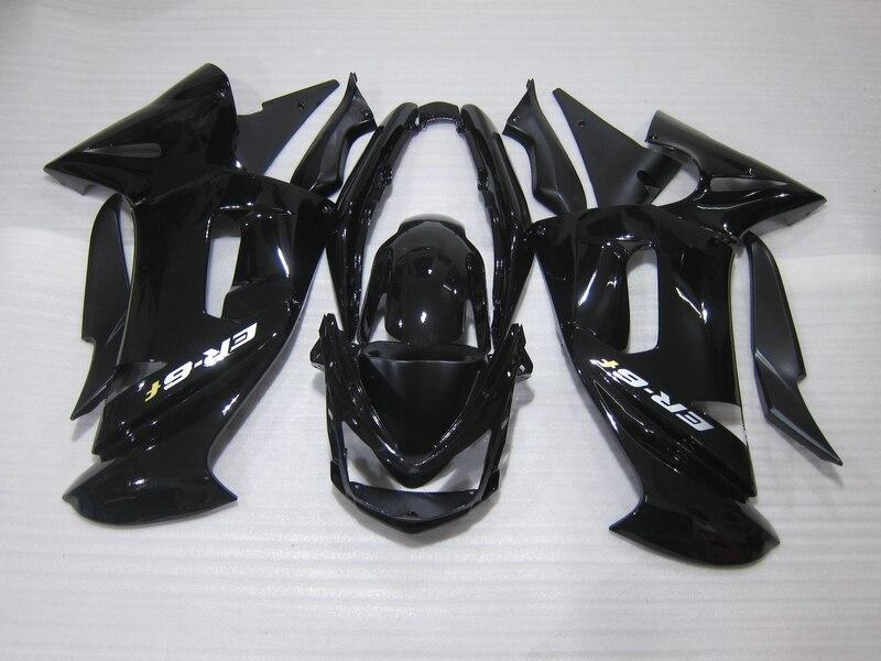 Libre personalizar Kit de carenado para Kawasaki Ninja 650R 06 07 08 carenado negro brillante 650r 2006 2007 2008 OW03