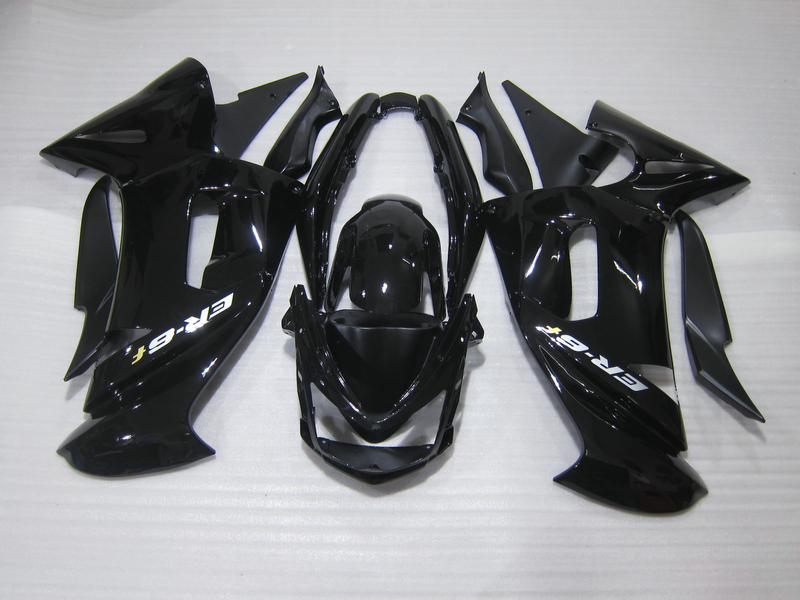 Personalizza libero corredo della carenatura per Kawasaki Ninja 650R 06 07 08 nero lucido carenature set 650r 2006 2007 2008 OW03