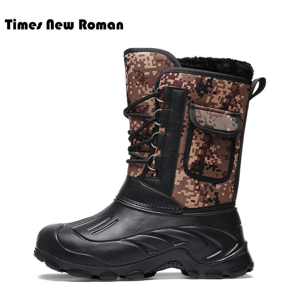 Times/Новые Мужские ботинки в римском стиле; камуфляжные зимние ботинки для мужчин; толстая плюшевая Водонепроницаемая зимняя обувь на шнуровке; большие размеры 40-46