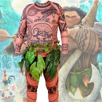 Free shipping Movie Moana Maui Cosplay Costume Full Sets Halloween Party Fancy Adult child Suit Tights Sweatshirt+Pants Leaves