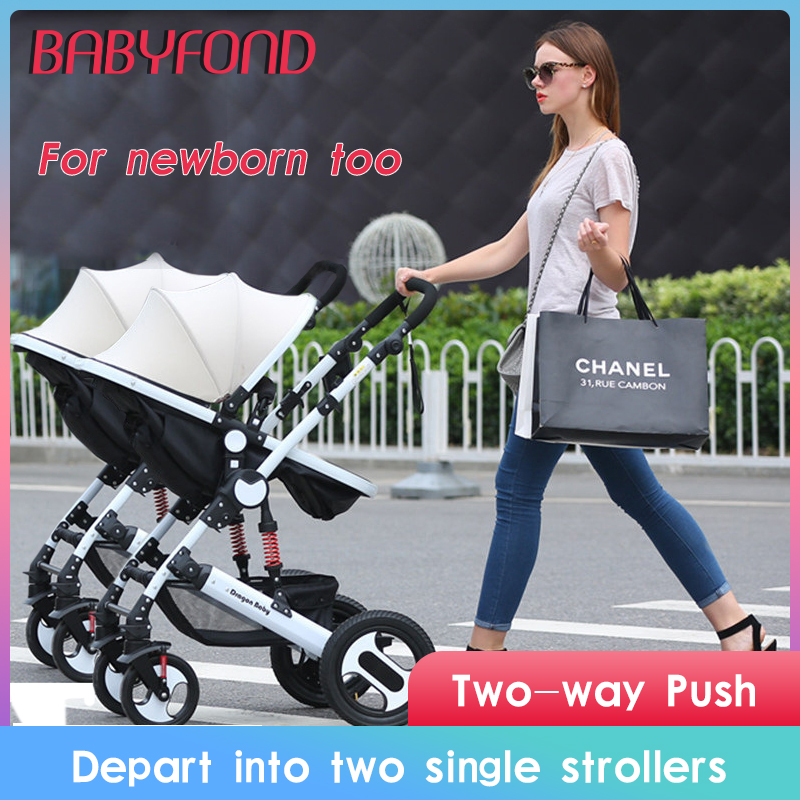 Twin Baby Strollers Can Sit And Detachable High Landscape Light Folding Shock Double Stroller Two Tire Cart Free Shipping