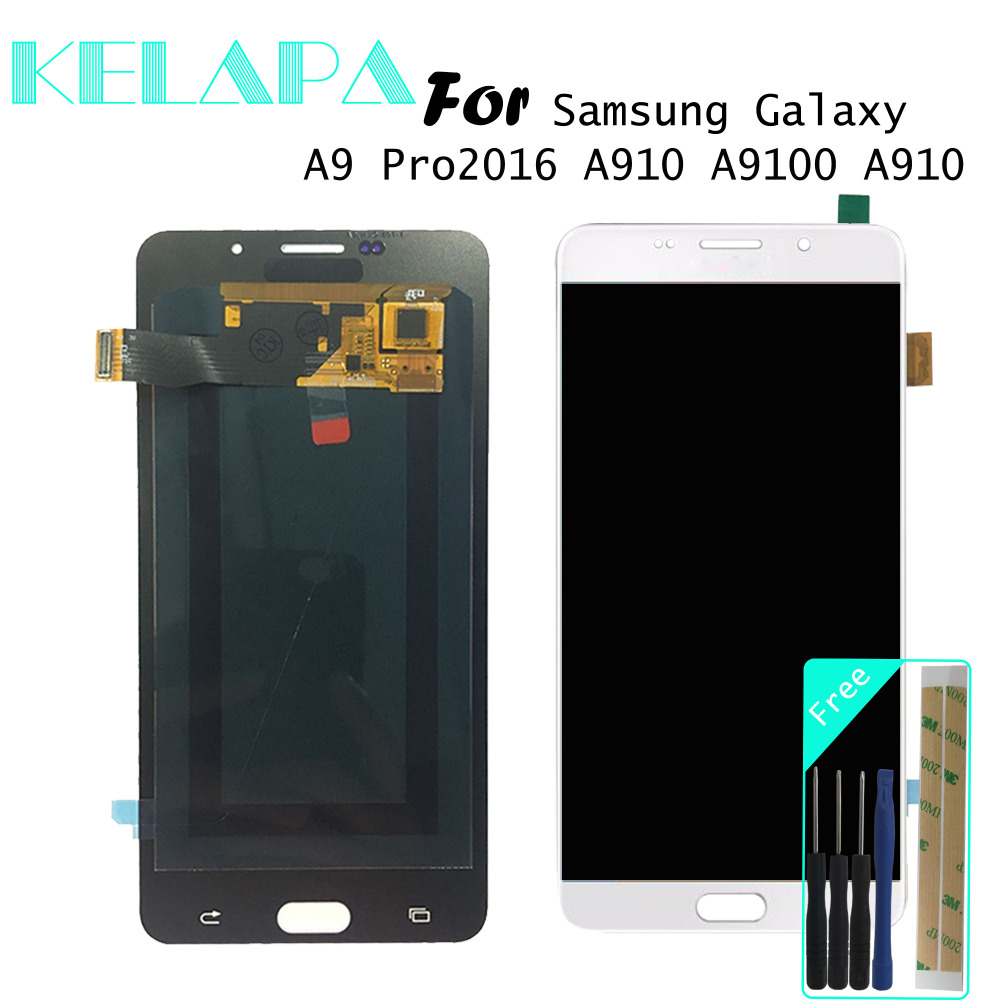 Tested Super AMOLED LCD  For Samsung Galaxy A9 Pro LCD 2016 A910 A9100 A910 Screen Digitizer Assembly Replacement