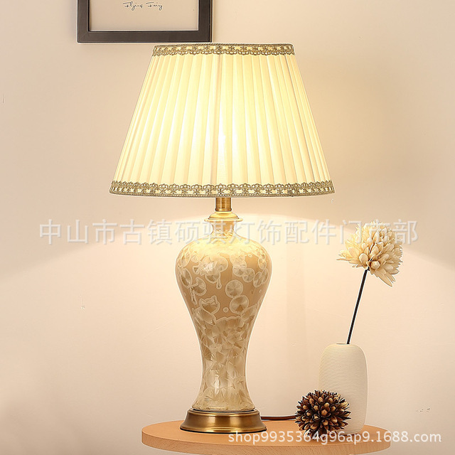 YOOK 36*62CM American Country Ceramic Table Lamp Living Room LED ...