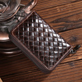 Vintage Natural Genuine leather card holders Unisex credit card holders Safe zipper Cowskin business card holder with 10 pockets