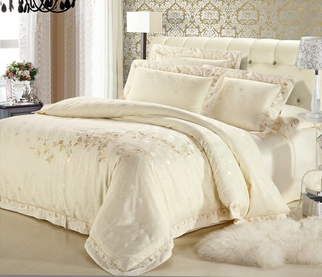 classic white silver gold silk satin bedspreads. Black Bedroom Furniture Sets. Home Design Ideas