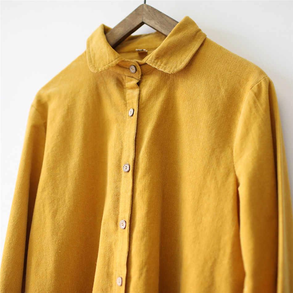 قمصان نسائي جوهنيتشر كودري خريفي لون سادة قطع علوية للخريف 2019 جديدة طويلة الأكمام قمصان نسائية غير رسمية