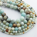 Round Amazonite Mixed color Beads Natural Stone Beads 4-12mm Strand For Diy Charms Bracelet Jewelry Making Gem New #TRS157