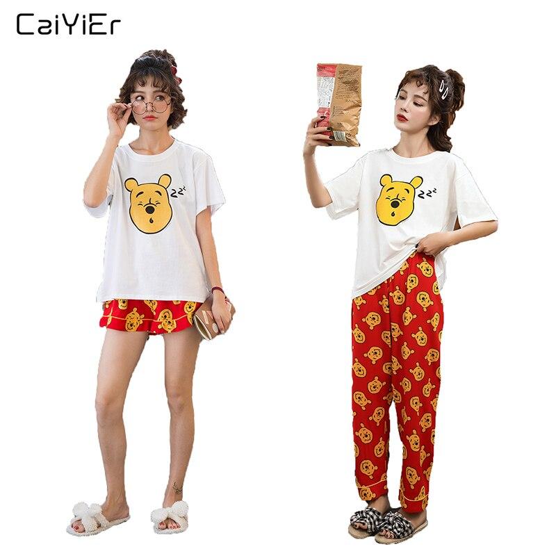 Caiyier 2019 Summer Cotton Short Sleeve   Pajamas     Sets   Cute MIQI And Bear Prints Sweet Girl Sleepwear Cartoon Nightgown Homewear