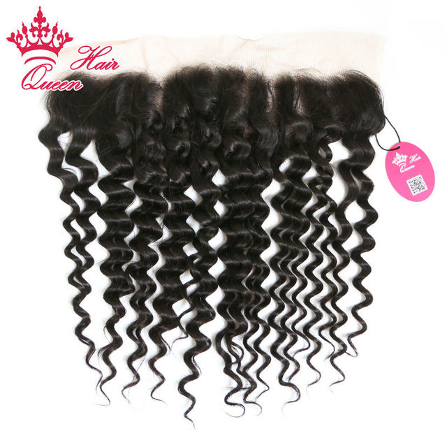 "Queen Hair Free Part Brazilian Deep Curly Wave Lace Frontal Closure 13""*4"" With Swiss Lace DHL Free Shipping"