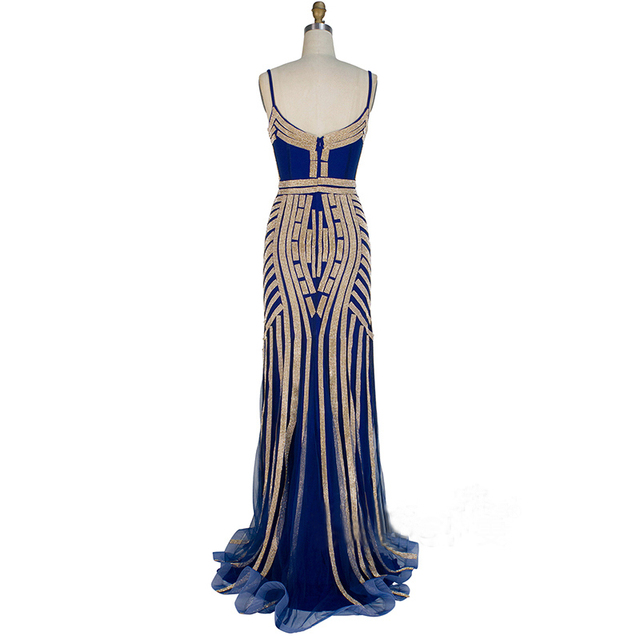 Robe De Soiree Real Photos Tulle Crystal Royal Blue Color Party Occasion Formal Long Evening Dress 2017
