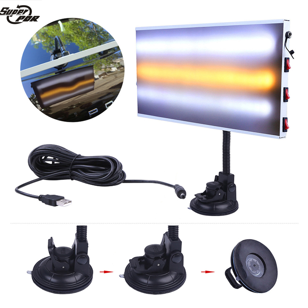 Super PDR LED Lamp Reflector Board Paintless Dent Removal Car Repair Kit aluminumalloy LED light big sucker Dent Repair Tools