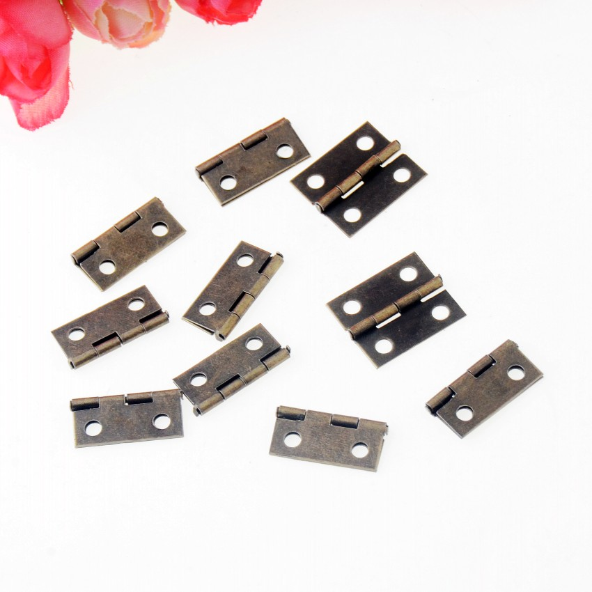 Free Shipping 100pcs Bronze Tone Hardware 4 Holes DIY Box Butt Door Hinges (Not Including Screws) 18x15mm J3290