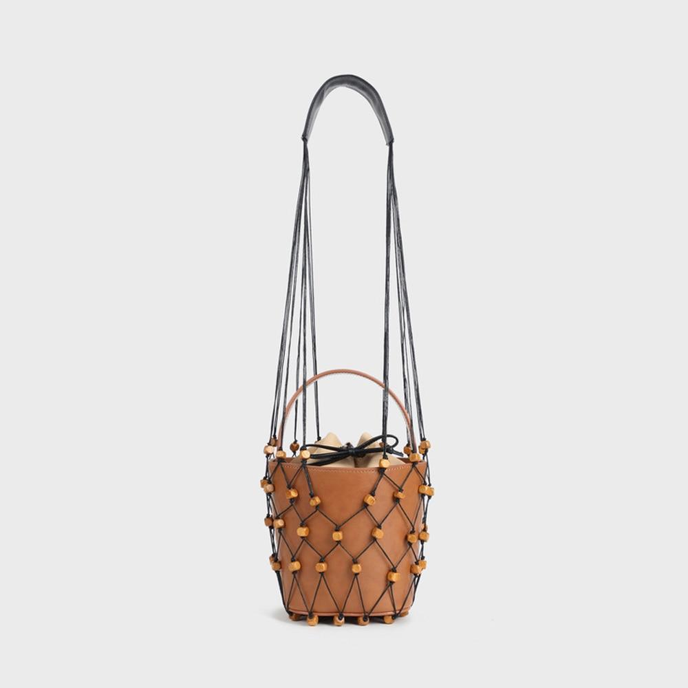 2018 New Women Log Wooden Beads Shoulder Net Bucket Bag Hollow Out Weaving Handbag Solid Vintage Fashion Elegant Leisure Leather elegant faux zircon hollow out anklet for women