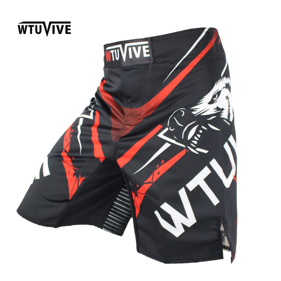 WTUVIVE MMA 2017 New Boxing Features Sports Training Muay Thai Fitness Personal Fight Shorts muay thai boxing shorts short mma