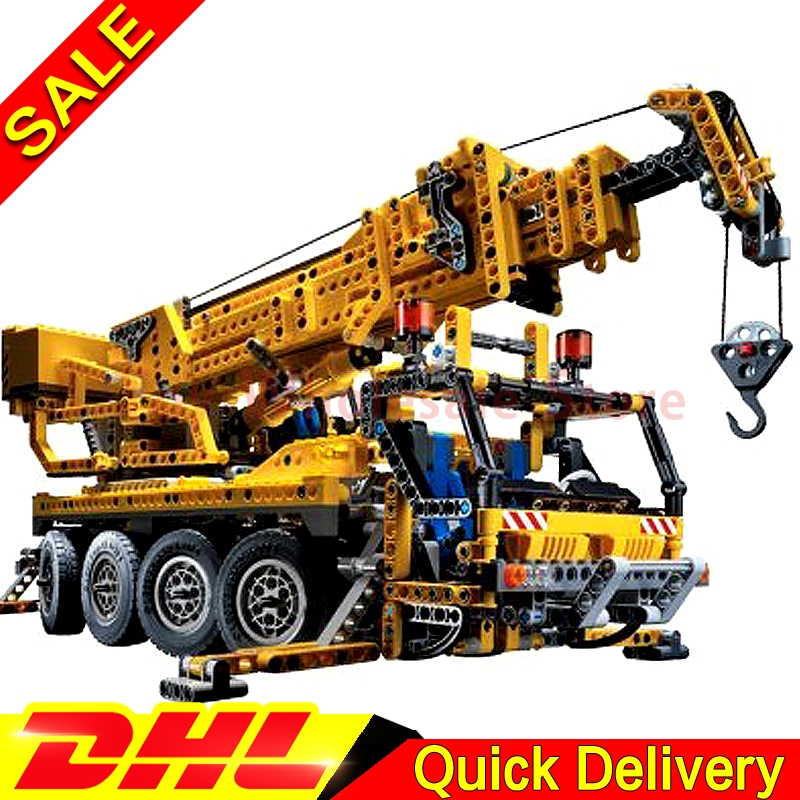 Lepin 20068 1884Pcs Technic Mechanical Kits The Moving Crane Children Educational Building Blocks Bricks Toys Model Clone 8421 wange mechanical application of the crown gear model building blocks for children the pulley scientific learning education toys