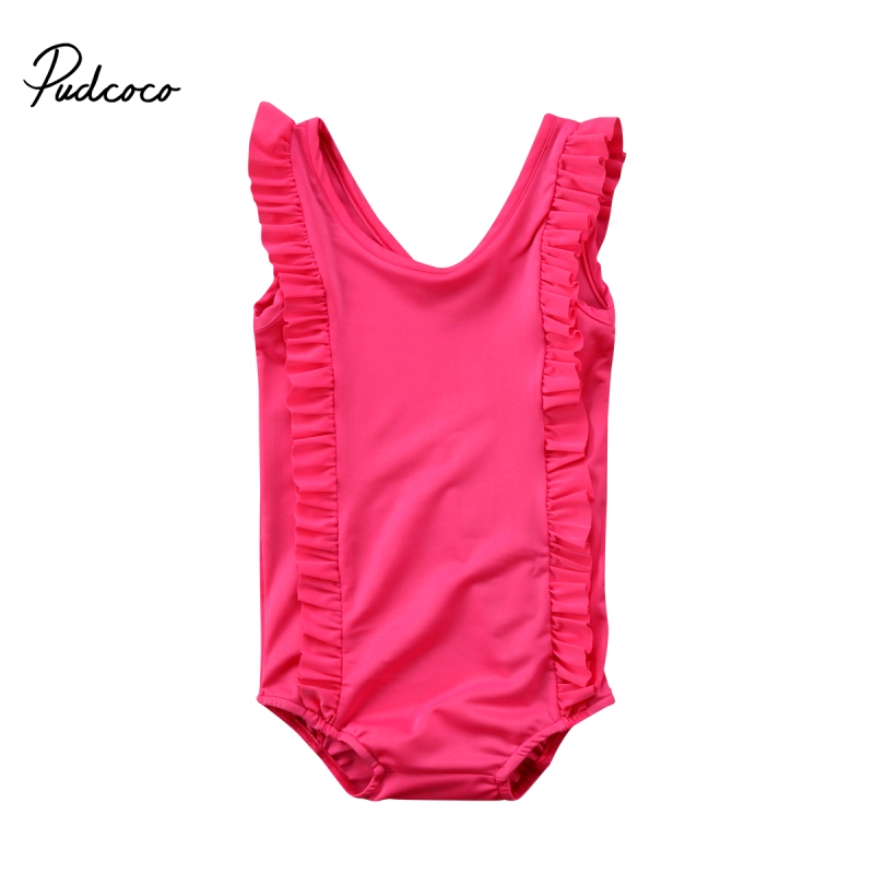Baby Girls Kids One Piece Bikini Tankini Swimsuit Swimming Costume Bathing Suit Baby Girl Sleeveless Ruffles Romper