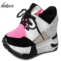 Spring Women's High Heels 2018 Fashion Breathable PU Shoes Women Platform Height Increased Shoes 11 CM Thick Sole Zapatos Mujer